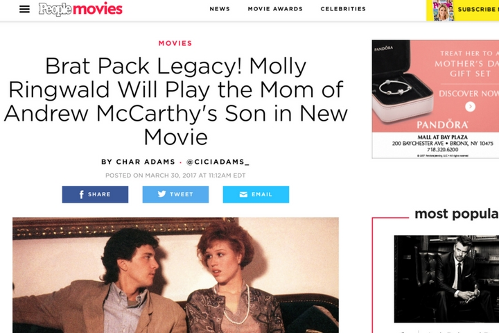 Brat Pack Legacy! Molly Ringwald Will Play the Mom of Andrew McCarthy's Son in New Movie